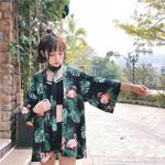 Long Wrap Hippie Cardigan chiffon Floral Print Bat Sleeve kimono