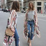 Vintage Cotton Casual Floral Loose Cardigan Chiffon Kimono