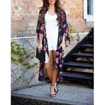 Cardigan Chiffon  Floral Print Loose Kimono