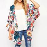 Beach Cover Up Floral Print Chiffon Loose Shawl Kimono