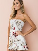 Off shoulder Floral Print Strapless Fashion Sexy Boho  Romper