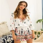 V-neck cropped sleeve tassel Long Sleeve Chiffon Casual Rompers
