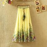 Elastic Waist Causal High Waist Print Boho Skirts