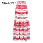 Vintage Tassel High Waist Print Button Patchwork Skirts