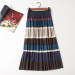 Mid-Calf Empire Striped  Retro Patchwork Striped Pleated Skirt