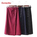 Bow Tie Polka Dots Wrap Button Vintage  Boho Skirts