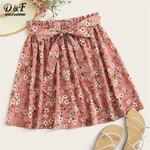 Fashion Pink Ditsy Floral Print Waist Boho Skirts