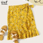 Casual Fashion Floral Ruffle Hem Knot Wrap Sheath Boho Skirt