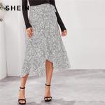High Waist Ruffle Hem Wrap Belted Boho Skirt