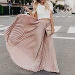 Casual Full Length High Waist Flared Pleated Long Skirt
