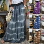 Fashion Printed Casual Elastic Waist Pockets Striped Bohemian Skirt