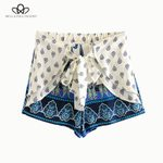 Fashion Drawstring Casual  Vintage Paisley Print Ruffle Shorts