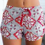 Sexy Pants Print Casual Shorts Mid Waist Short