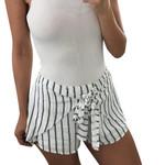Sexy Fashion Stripe Loose Elastic Waist  Casual High Waist Thin Shorts