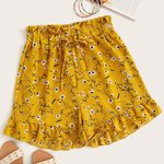 Loose Casual Chiffon Ruffles Hem High Waist Floral Print Boho Shorts