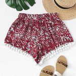 Printed Loose Beach Trousers Casual Short