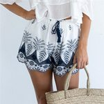 flower side mesh sleeve mini opaque casual shorts
