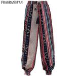 High Elastic Waist Print Casual Loose Slim Chiffon Long Bohemian Pants