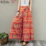 Elastic Waist Floral Printed Wide Leg  Casual Bohemian Pants