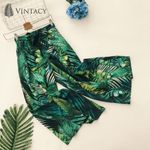 Plant Printed High Waist Loose Casual Wide Leg Bohemian Pants