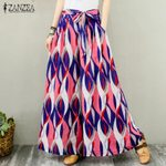 Floral Print Long Trousers Casual Elastic High Waist Wide Leg Bohemian Pants