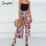 elastic high waist patchwork floral print wide leg Bohemian pants
