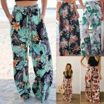 Tropical Green Leaf Print Wide Leg Bohemian Pants