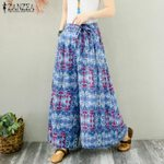 Floral Printed Flare Casual  Elastic Waist Wide Leg Bohemian Pants
