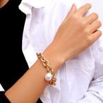 Heavy Thick Chain Pearl Pendant Bohemian Bracelet