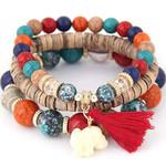 elephant charm retro jewelry fashion wooden bohemian bracelet