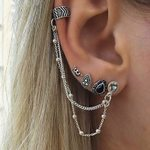Retro Style Crown Water Droplets Chain Fashion Bohemian Earrings