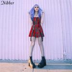 plaid sling sleeveless Fashion girl causal dress