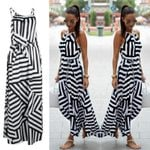 Long Dress New Fashion Sexy Striped Sleeveless Casual Dress
