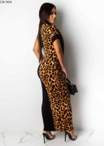 Fashion Leopard Print Casual Dress