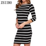 Round Neck Fashion Striped Long Sleeve Straight  Casual Dress