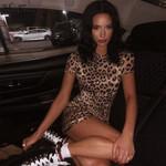 leopard print high waist short sleeve  fashion sexy casual dress