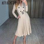 Elegant button belt Plaid Sexy v-neck pleated casual dress