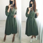 Vintage Long Sleeve Stand Collar Elegant Casual Dress