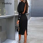Puff Sleeve Slit Sexy Backless Long Sleeve Bodycon Dress