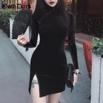 Vintage Gothic Patchwork Button Long sleeve Sexy Bodycon Dress