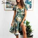 Wrap v neck high waist Elegant floral print dress