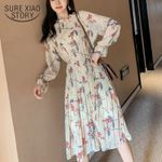 Loose Pleated Mid-calf Chiffon Long Sleeve  Floral Dress