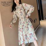 Loose Pleated Mid-calf Chiffon Long Sleeve  Floral Dress