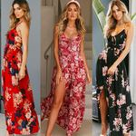 Long Backless Strap Sleeveless Floral Dress