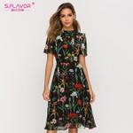 Short Sleeve Fashion Chiffon Slim A-line Floral Dress