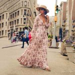 V-Neck High Waist Loose Long Retro Vintage Floral Dresses