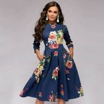 3/4 Sleeved High Waist A-Line Vintage Retro Tunic Floral Dresses