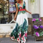 Fashion Elegant Deep V-Neck Fashion Long Floral Dresses