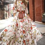 Long Half Sleeve Floral Dresses