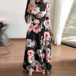Sleeve Long Floral Print Bandage Elegant Boho Dresses